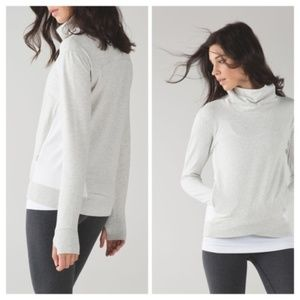 Lululemon On The Double Pullover Grey and White 8